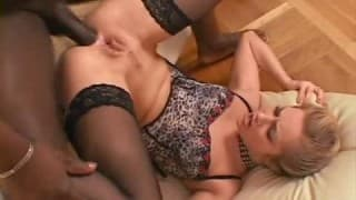Big black cock fucking his hot model friend