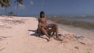 Brunette is stuffed at the beach by a stranger