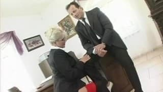 Blonde has a hardcore sex session with her boss