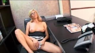 Blonde nympho is teased by her co-worker