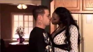 An interracial fuck in the kitchen