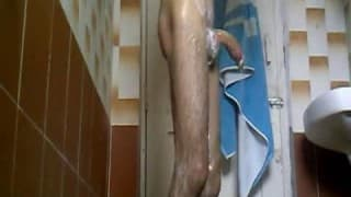 This guy loves to masturbate in the bathroom