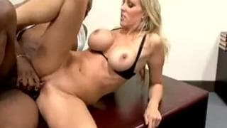 Busty blonde secretary fucks black guy on desk