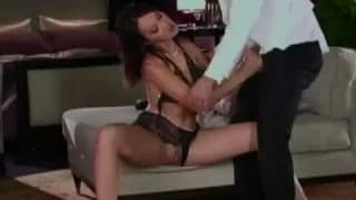 Face and ass fuck for Katsuni on the bed