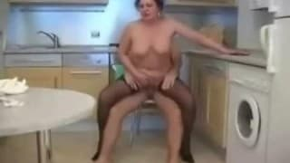 Round plump mature woman gets nailed in the kitchen