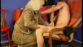 Horny Grandma beats young guy to take his dick out