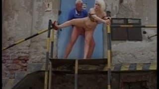 Mature old couple fuck outside warehouse