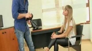 Guy smashes tight young blonde on desk before cumin on her feet