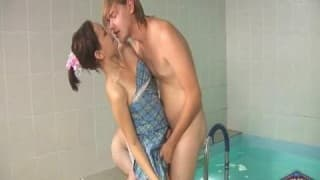 This brunette is very horny with two men