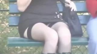 Public hidden camera of some up skirt snatch