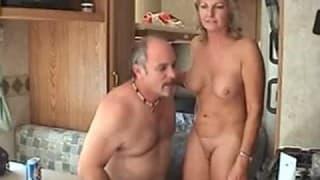 Mature couple fuck in an old caravan
