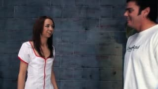 Skinny young brunette makes a perfect nurse for this guy