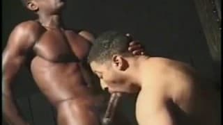 A black gay guy fucks his boyfriend in front of the camera