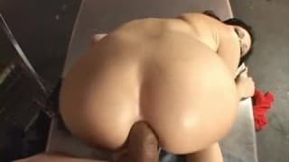 Rebeca Linares sucks on dick like a bitch before being popped in the ass