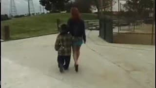 She gets fucked by a midget