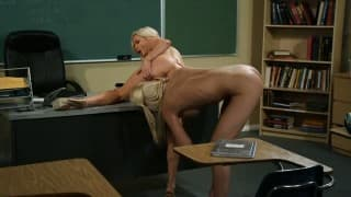 Young blonde student lesbian taught a lesson from busty blonde teacher
