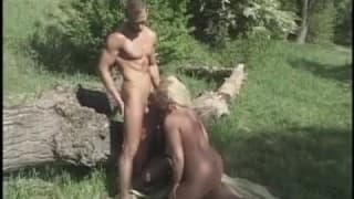 Round blonde blows off two bi's in a field