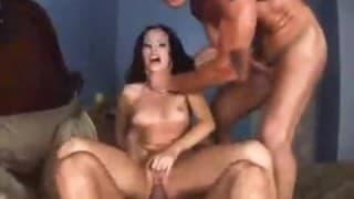 Brunette gets torn up between two dicks