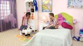 Young innocent ebony fucks her white friend