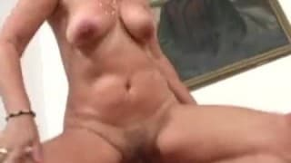 Mature woman gets her pussy hammered by a young guy!