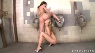Lesbian sluts get a few drops of pee!