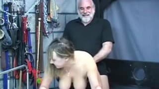 A busty woman dominated by her husband