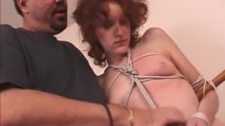 A bondage loving redhead