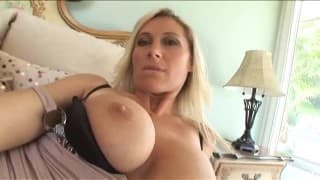 This sultry blonde has pleasure with a huge cock
