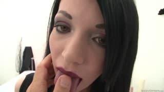 Alluring brunette shows her tits in POV