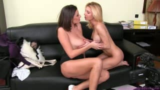 Female Agent- A luscious brunette testing a blonde's pussy