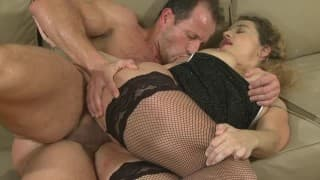 A bitch MILF with fishnet stockings