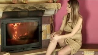 Young pregnant touch herself sensually
