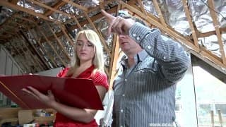 Young blonde fucks with the builder