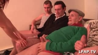 Small French whore fucked by 4 guys