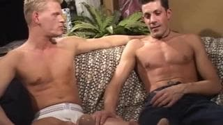 Gay session with a blonde and a brown