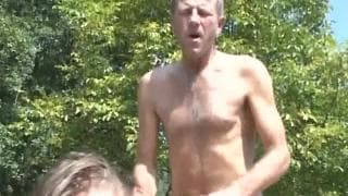 Sex outdoors with a old guy