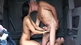 Little naught brunette fucking granddad
