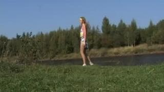 Vanessa Teen mastubrates on the grass outside