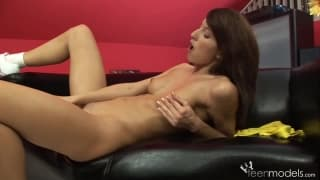Playful Ann is trying to fist herself her pussy!