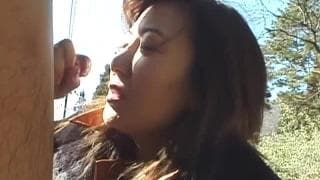 A good blowjob outdoors by a couple of asians