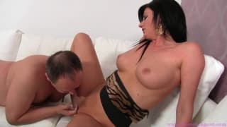 Porn casting with a brunette MILF for an amateur