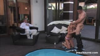 He fucks a very sexy blonde by the pool