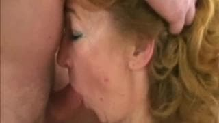 Mature with sexy lingerie and stockings fucks with a young