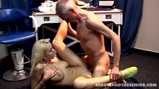Young blonde having sex with an old guy