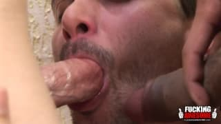 Two sexy trannies disassemble a man's anus