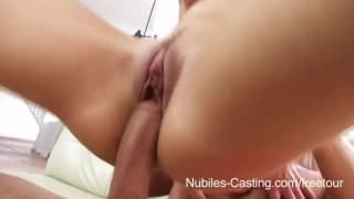 Young brunette slut in a porn casting