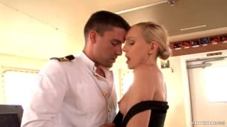 Nataly Von giving blowjob and making him cum in her mouth