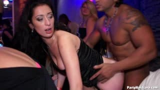 Amateur porn scene in a nightclub with everyone watching