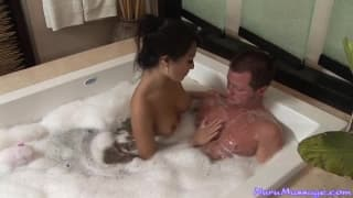 Asa Akira gives an unforgettable massage in the bathtub