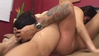 Asian milf bangs this guy on the couch